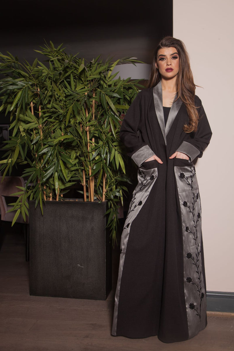 SILVER RAW SILK PANEL EMBROIDERED ABAYA