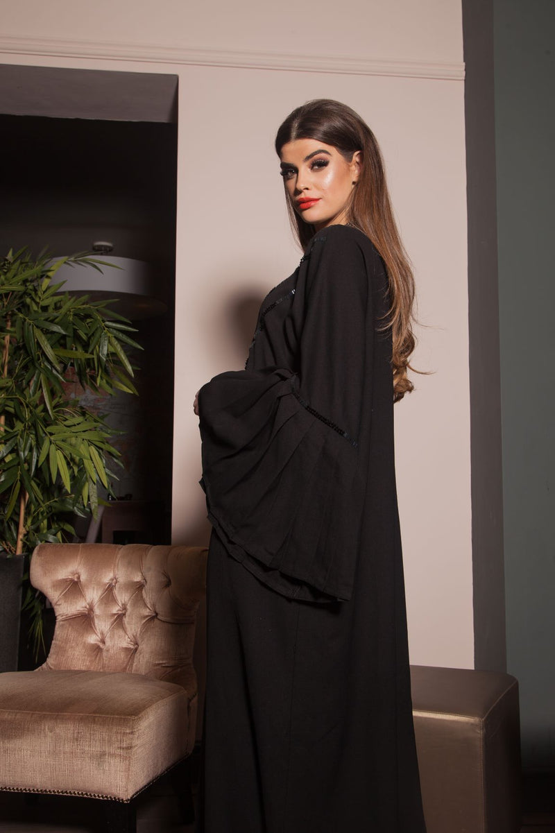 BELL SLEEVE GLASS BEAD ABAYA