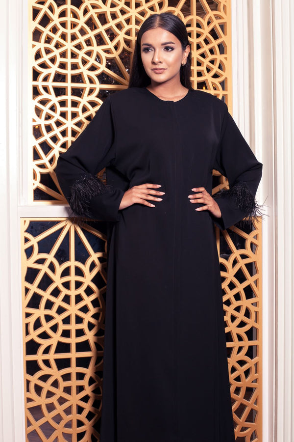 FEATHER TRIM SLEEVE ABAYA