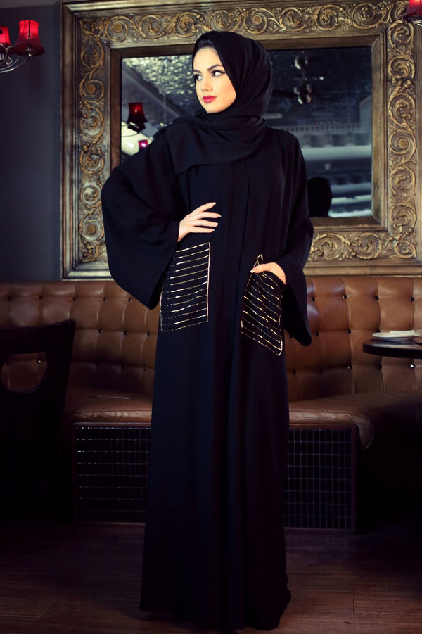 GOLD GLASS BEAD EMBELLISHED POCKET ABAYA