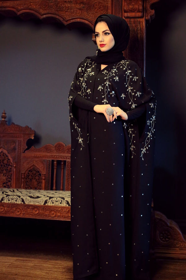 SEQUIN EMBROIDERY CAPE ABAYA