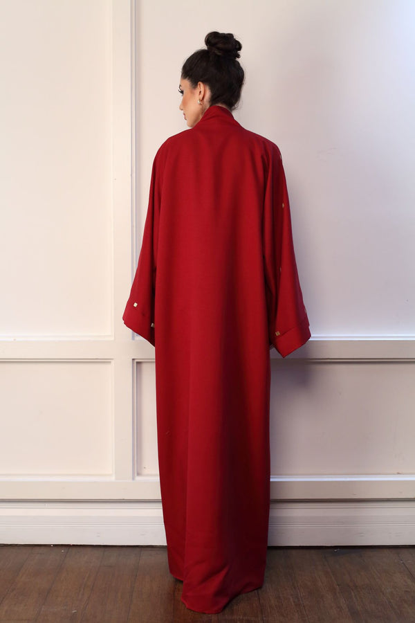 CRIMSON ABAYA WITH SQUARE GOLD EMBROIDERY ON SLEEVES