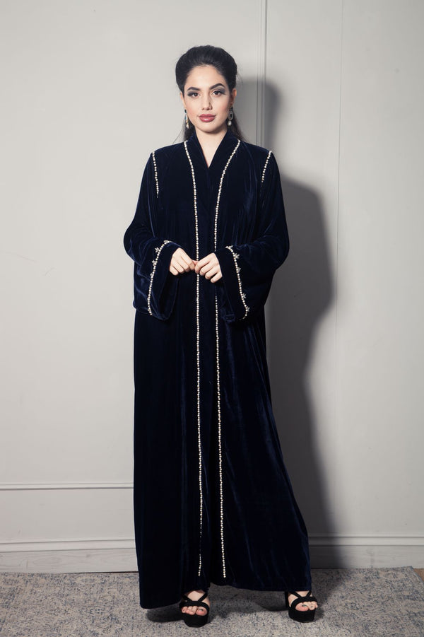 NAVY VELVET ABAYA WITH PEARL AND CRYSTAL BORDER