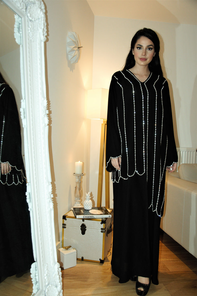 ASYMMETRIC ATTACHED EMBROIDERED JACKET ABAYA