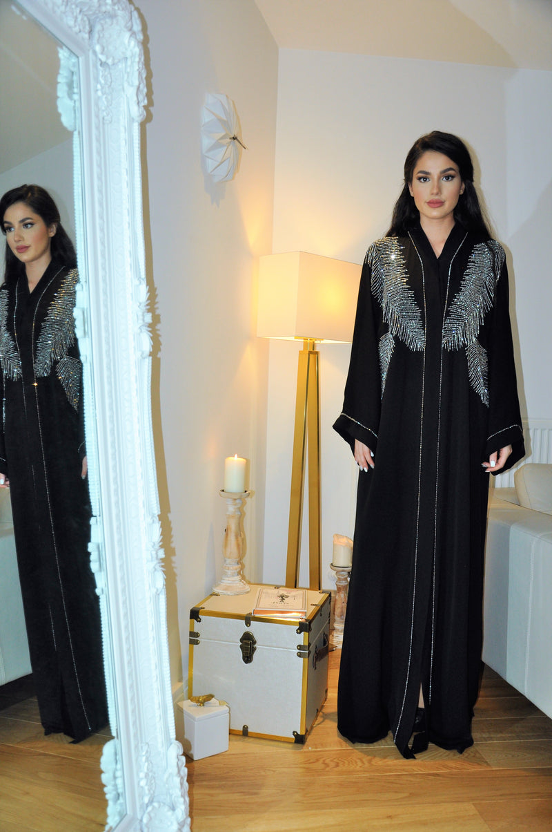 DOUBLE FEATHER CRYSTAL EMBROIDERED ABAYA