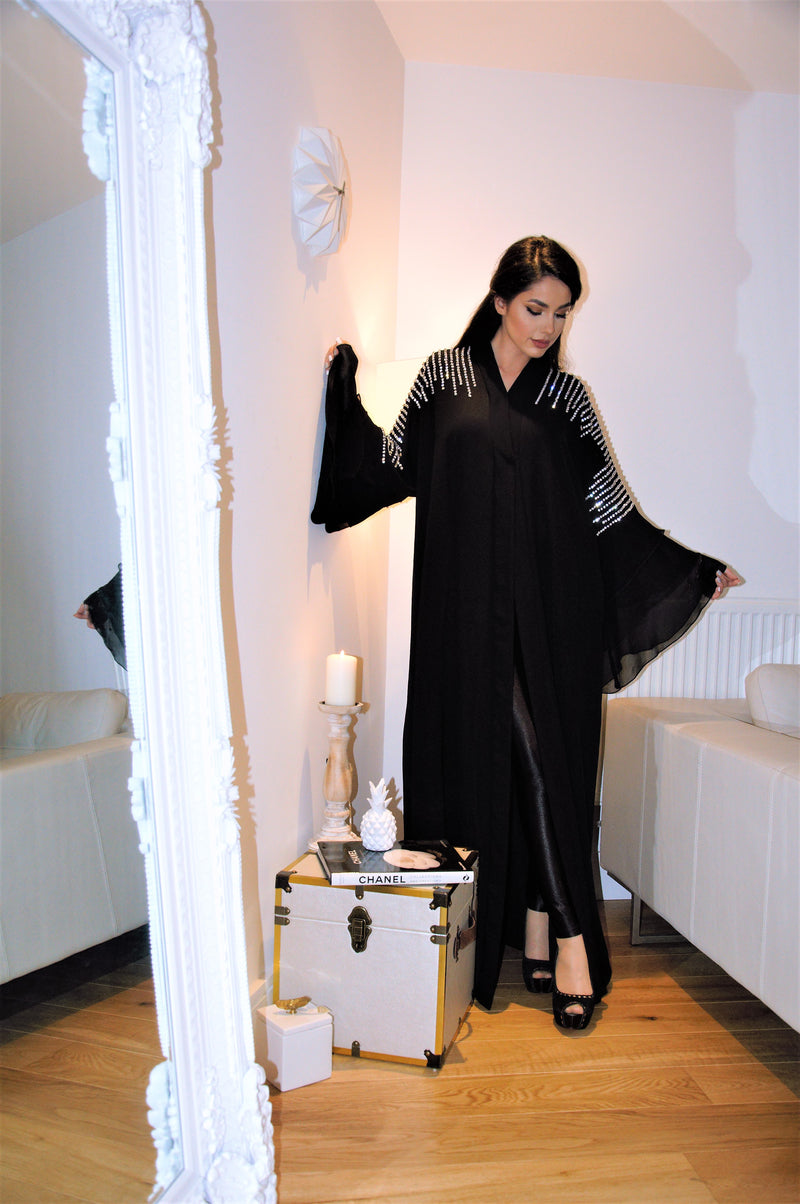 CRYSTAL ROW, CHIFFON LAYERED SLEEVE ABAYA