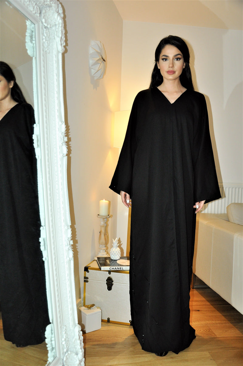 SIDE TRIANGLE BEADS ABAYA