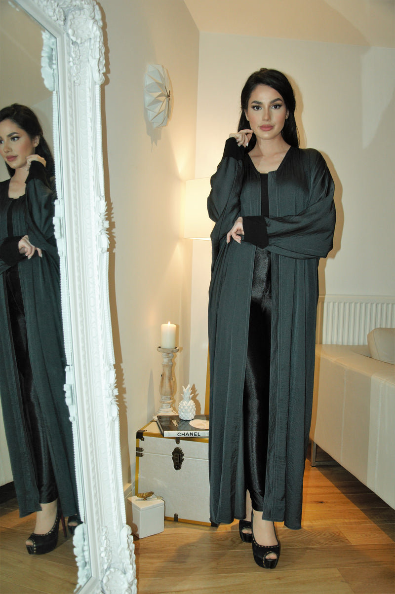 GREY ABAYA WITH BLACK CUFF SLEEVES