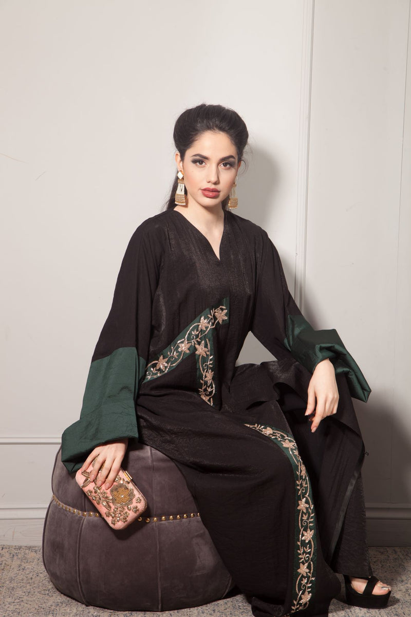 GREEN RAW SILK PANEL ABAYA WITH GOLD EMBROIDERY