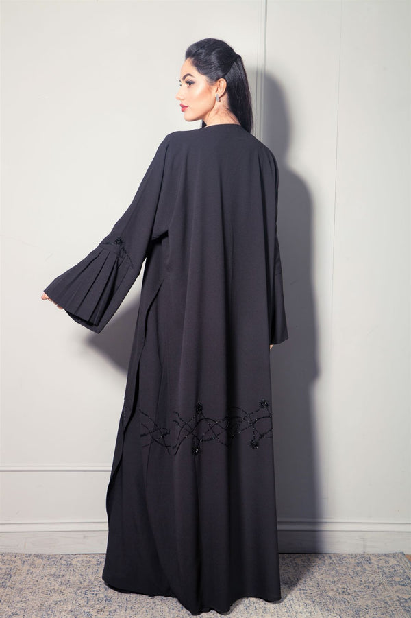 BLACK ON BLACK JACKET STYLE ABAYA