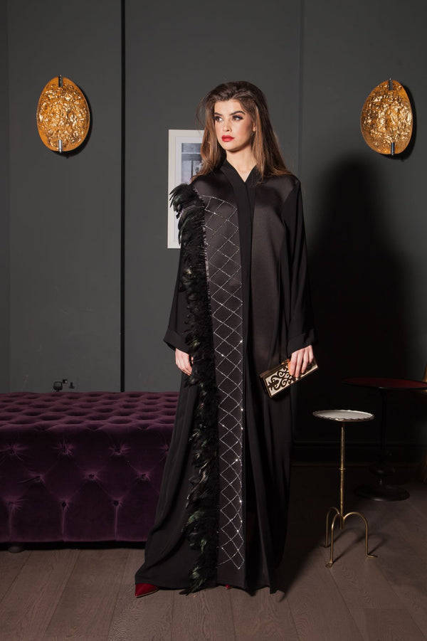 EMBROIDERED CRYSTAL FEATHER ABAYA