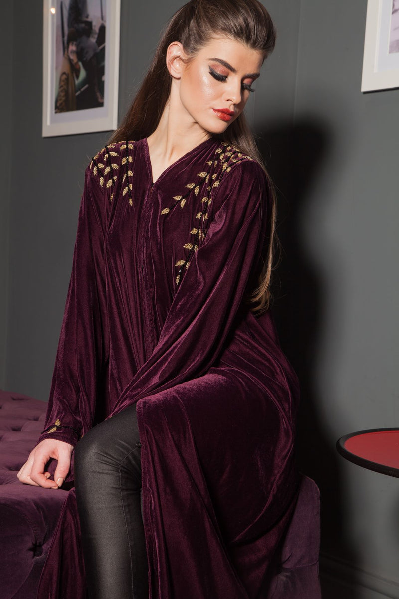 MAROON VELVET ABAYA WITH GOLD HAND WORK EMBROIDERY