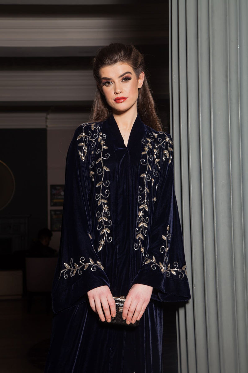 NAVY VELVET ABAYA WITH FLORAL CRYSTAL HANDOWORK