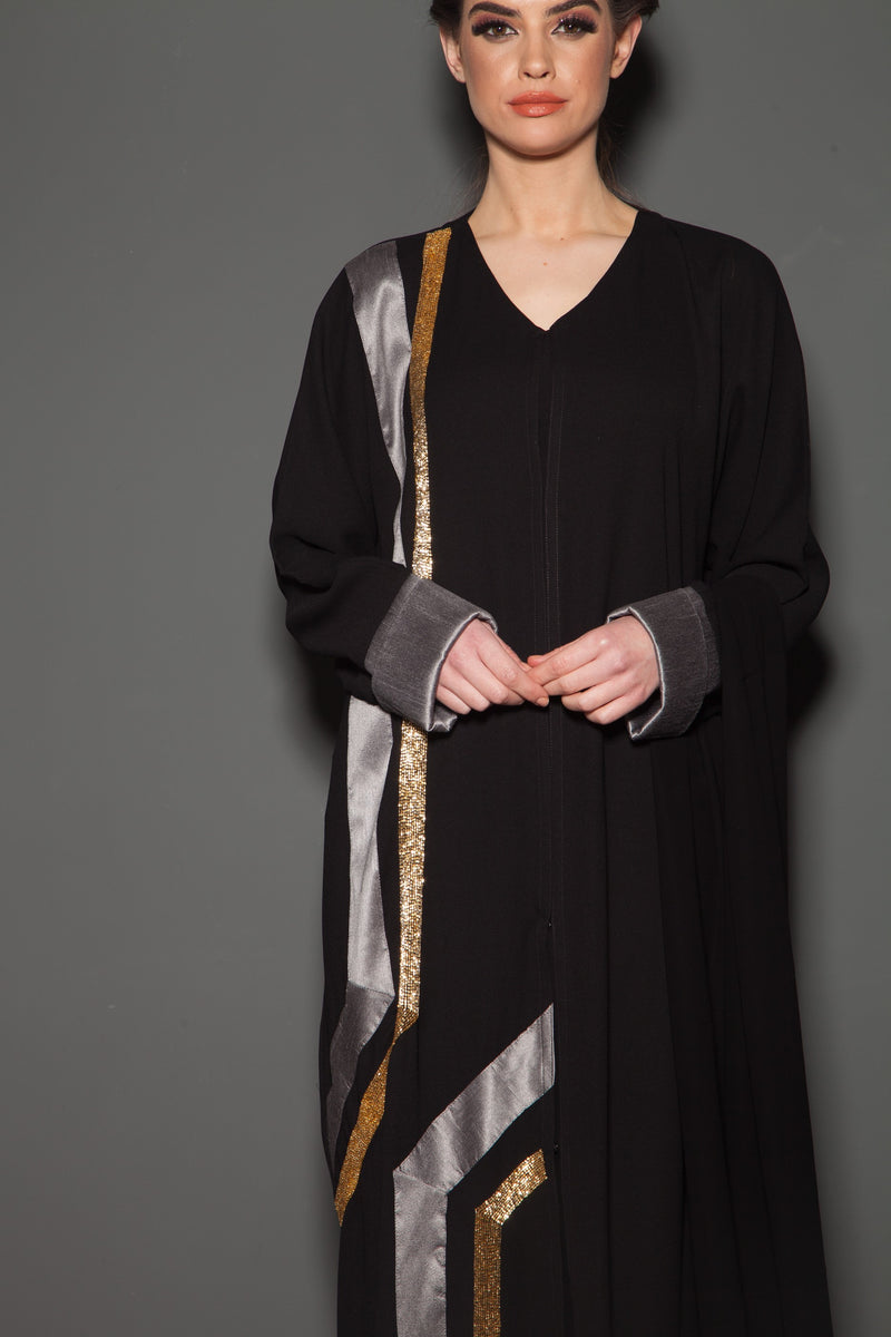 BLACK ABAYA WITH SILK AND BEAD STRIP EMBROIDERY