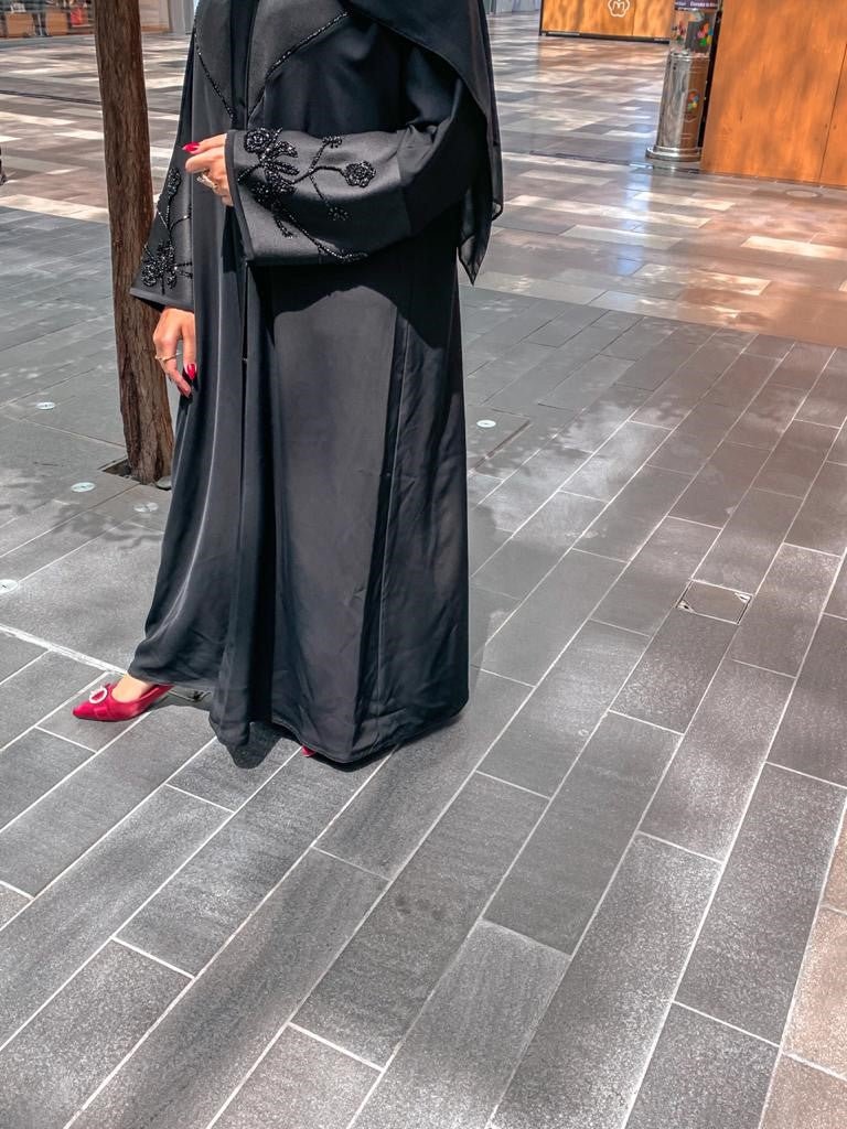ABAYA WITH SATIN AND BEAD EMBROIDERY