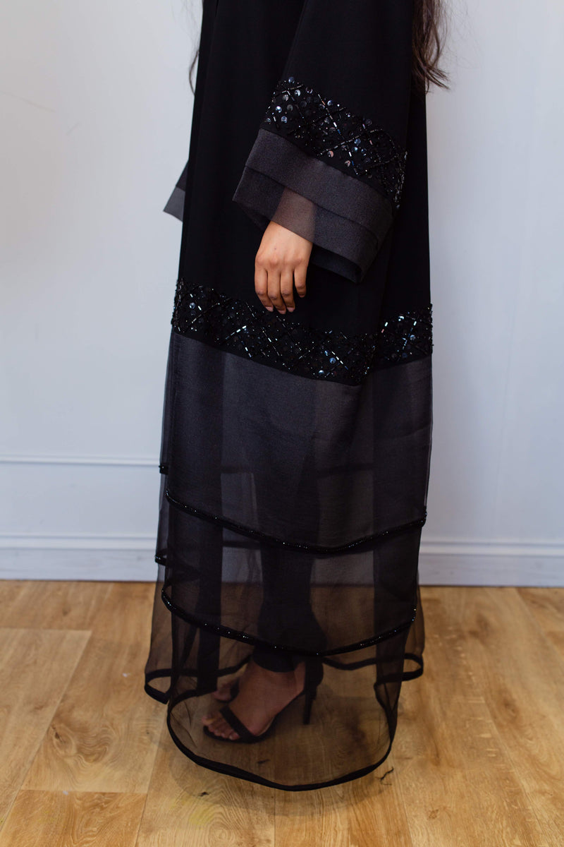 ORGANZA PANEL ABAYA WITH BEADWORK