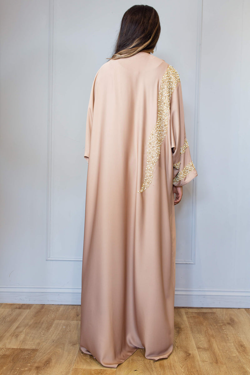 MINK ABAYA WITH GOLD CRYSTAL WORK