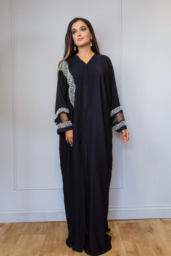 BLACK ABAYA WITH SILVER CRYSTAL PEARL WORK