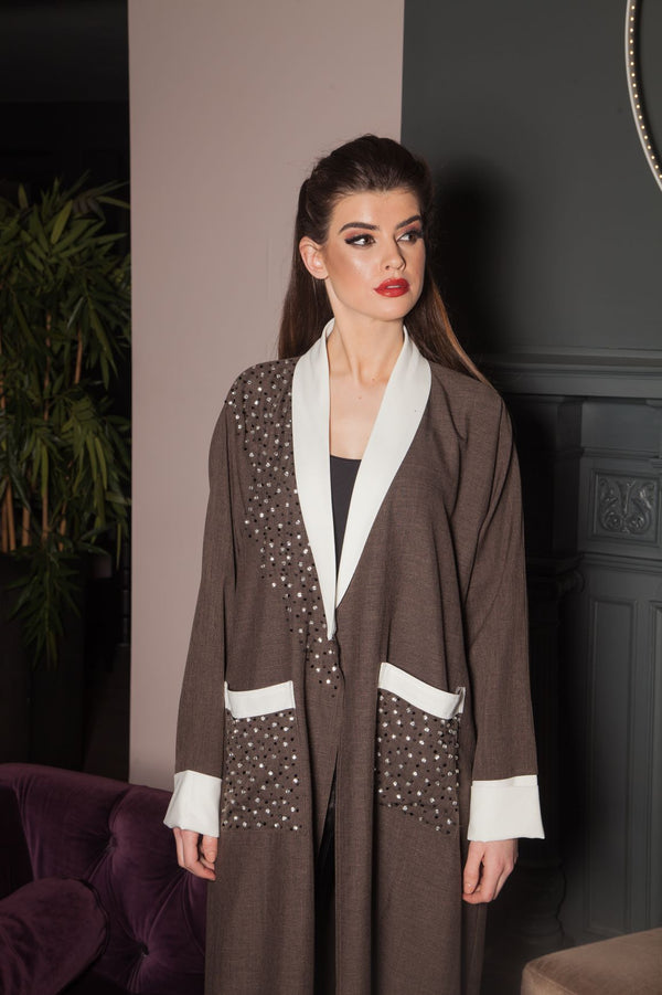 BROWN ABAYA WITH WHITE LAPELS