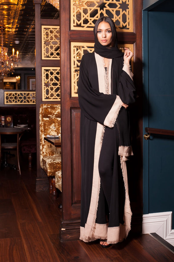 BLACK ABAYA WITH CREAM FRAY EDGE