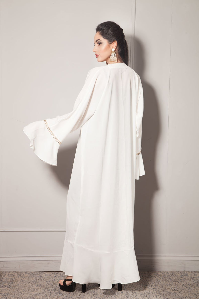 WHITE SIDE LAYERED ABAYA WITH PEARLS AND GOLD TRIMMING