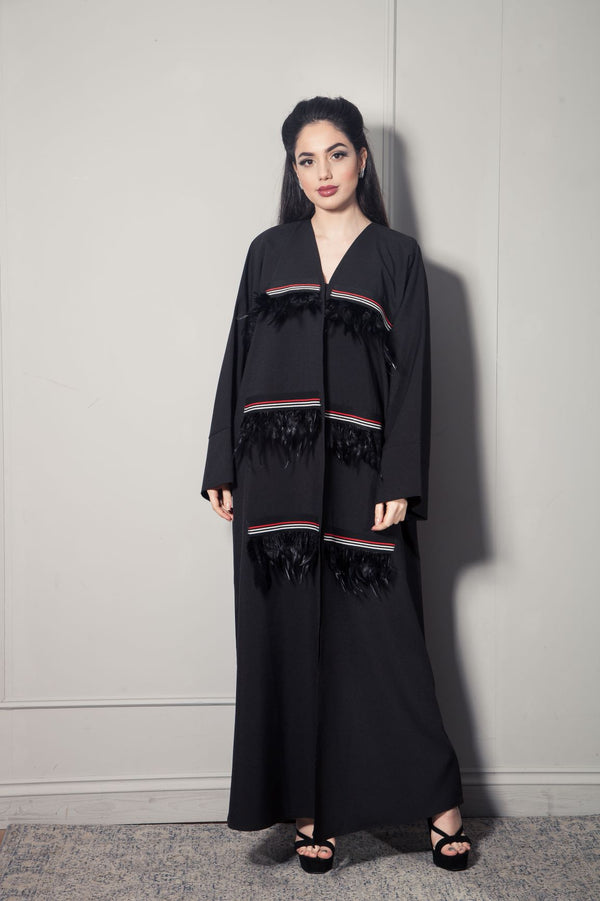 FEATHER STRIP ABAYA