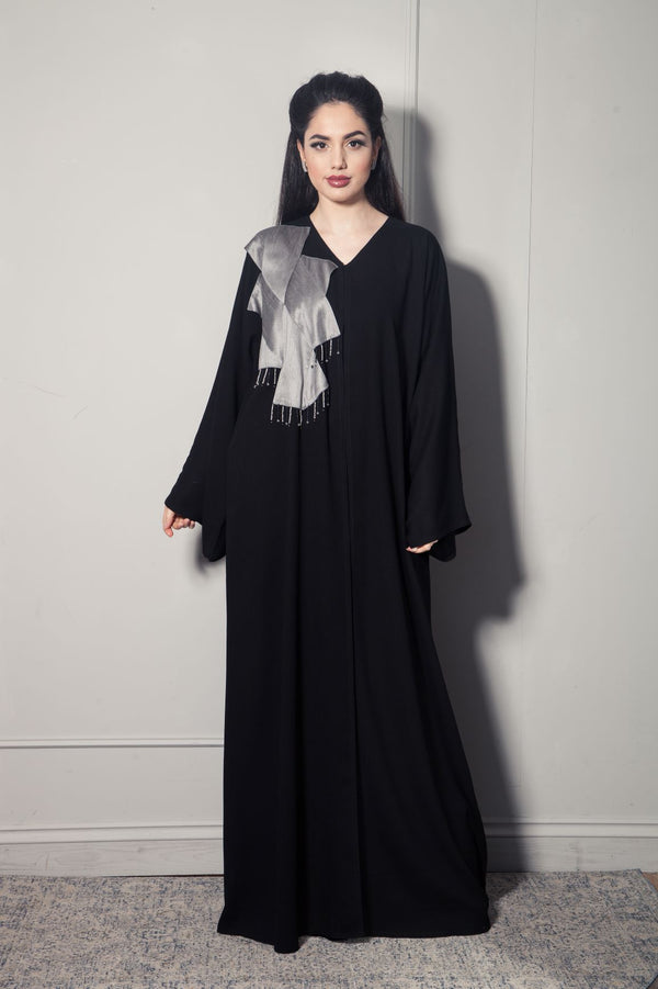 SILVER RAW SILK PATCH ABAYA