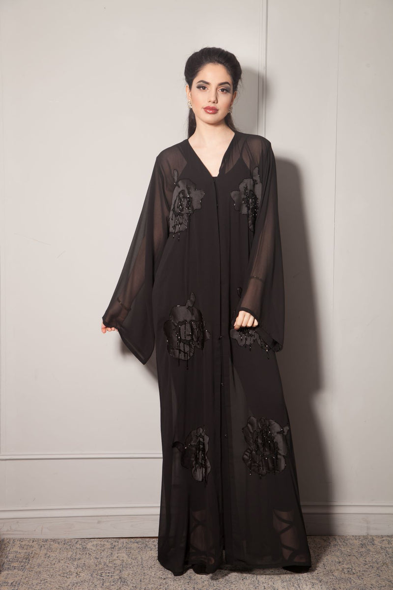 Chiffon Abaya with Satin Silk Flowers