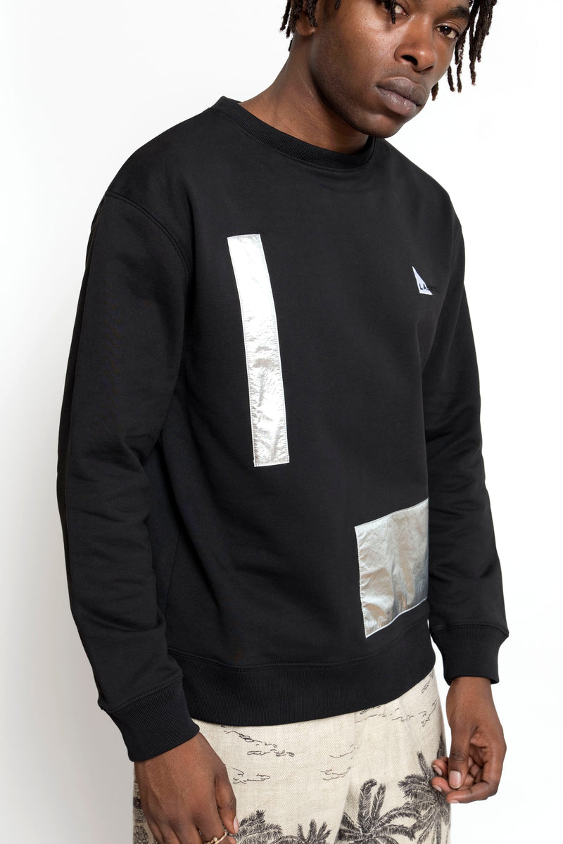 METALLIC UPCYCLED PATCH SWEATSHIRT BLACK