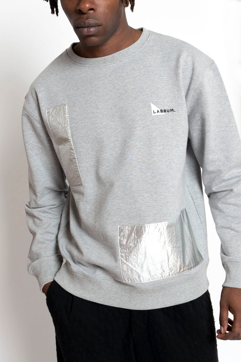 METALLIC UPCYCLED PATCH SWEATSHIRT