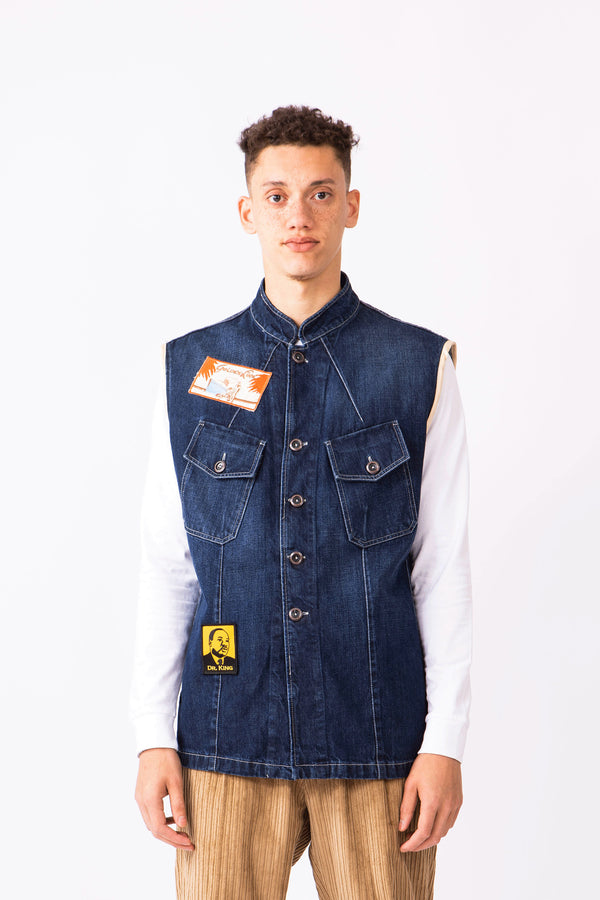 SLEEVELESS PORTER DENIM SHIRT