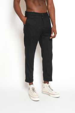 CROPPED PINSTRIPE WOOL TROUSERS