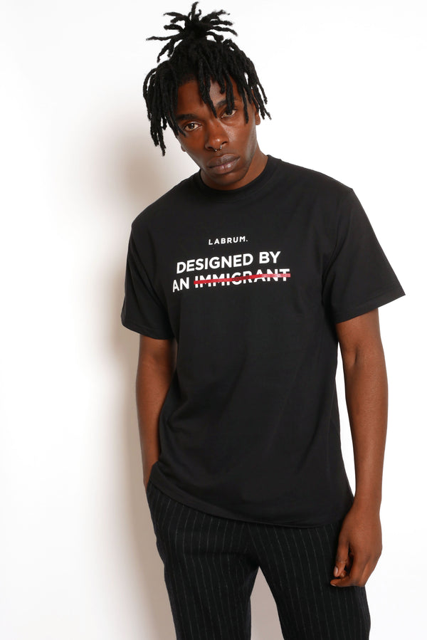 BLACK CENSORED 'DESIGNED BY AN IMMIGRANT' T-SHIRT