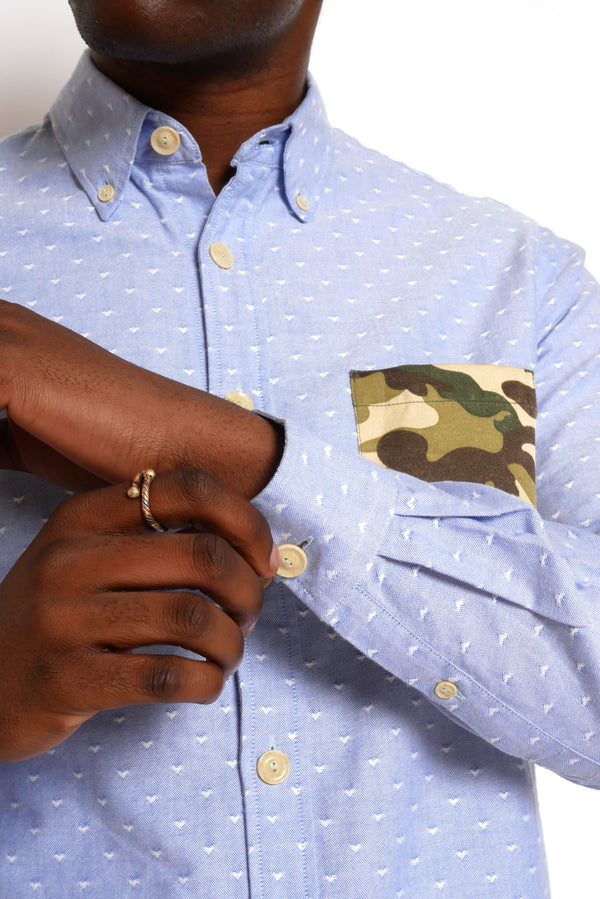 OXFORD SHIRT WITH WOODLAND CAMO POCKET DETAIL
