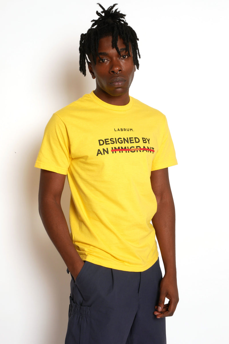 YELLOW CENSORED 'DESIGNED BY AN IMMIGRANT' T-SHIRT