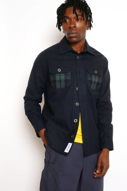 NAVY HEAVY COTTON TARTAN POCKET SHIRT