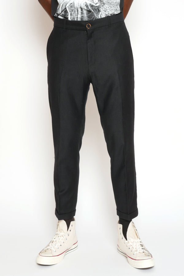 BLACK CROPPED WOOL TROUSERS