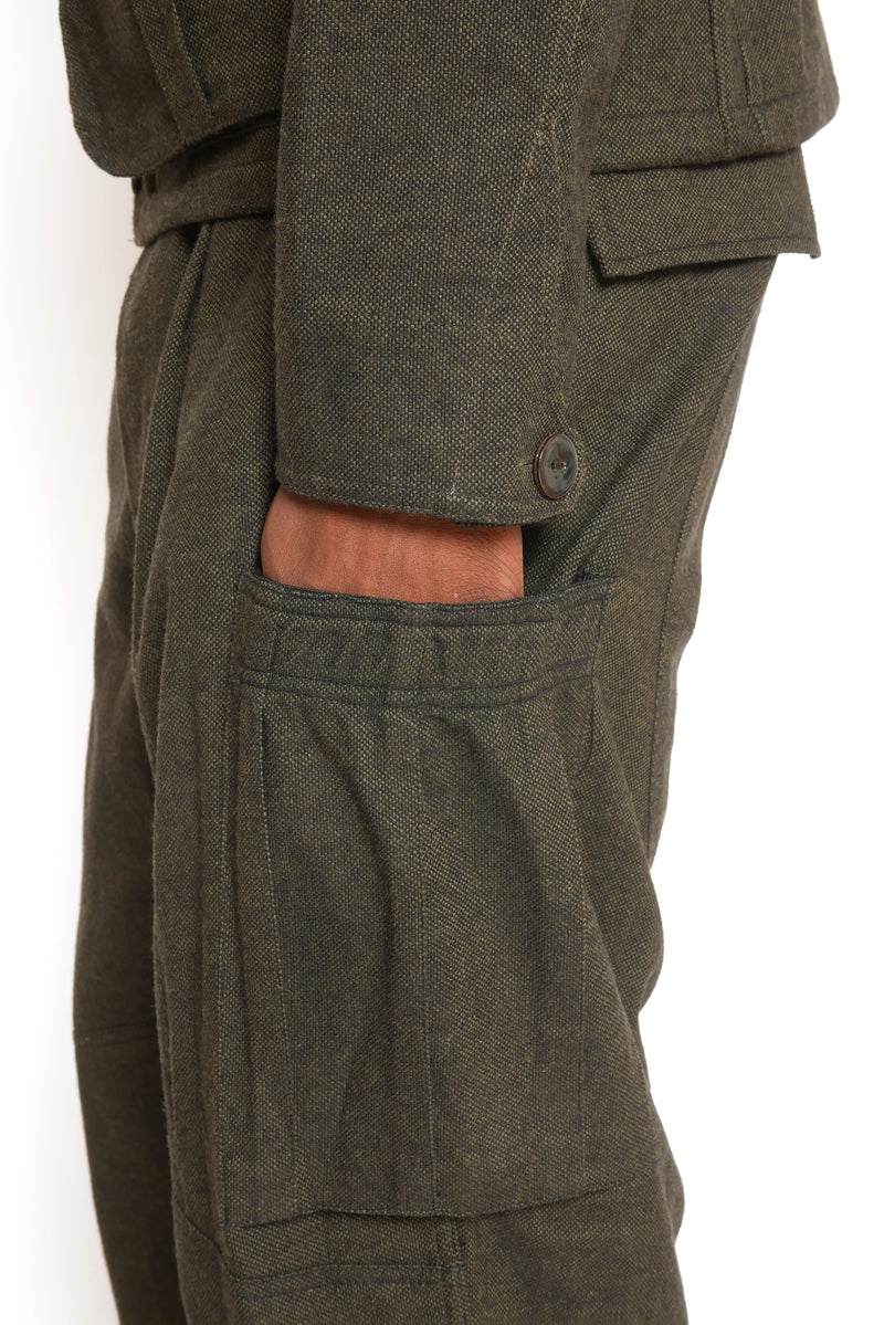 DEEP FORREST GREEN CARGO PANT WITH ELASTICATED SIDE POCKETS