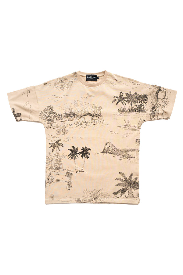 Freetown Digital  Print T-Shirt Beige