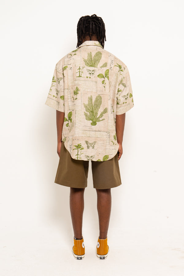 Botanical Printed  Linen Shirt