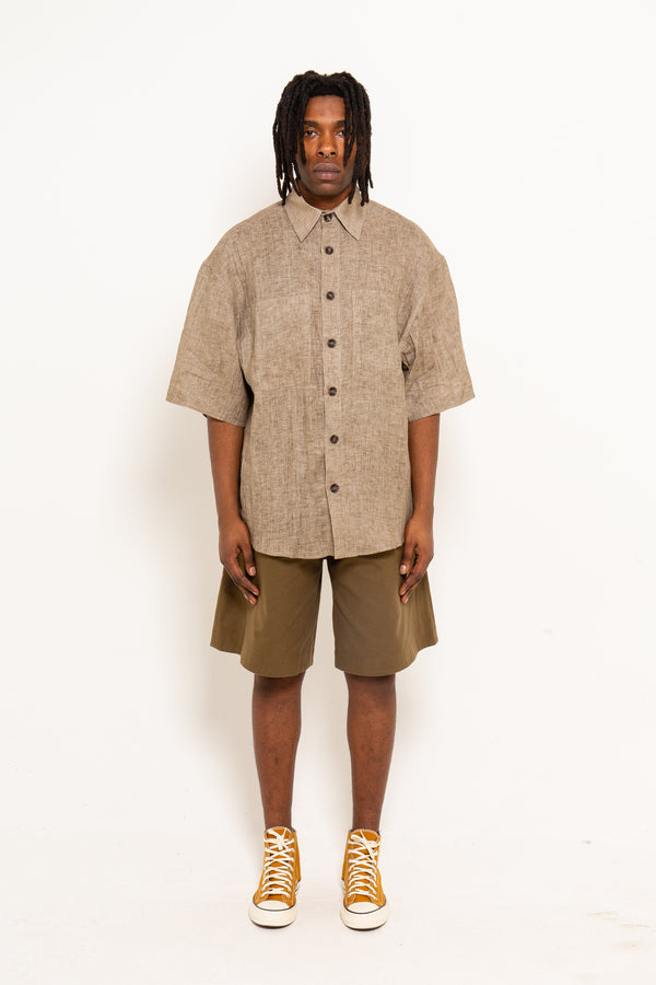 Brown Linen Shortsleeve Shirt