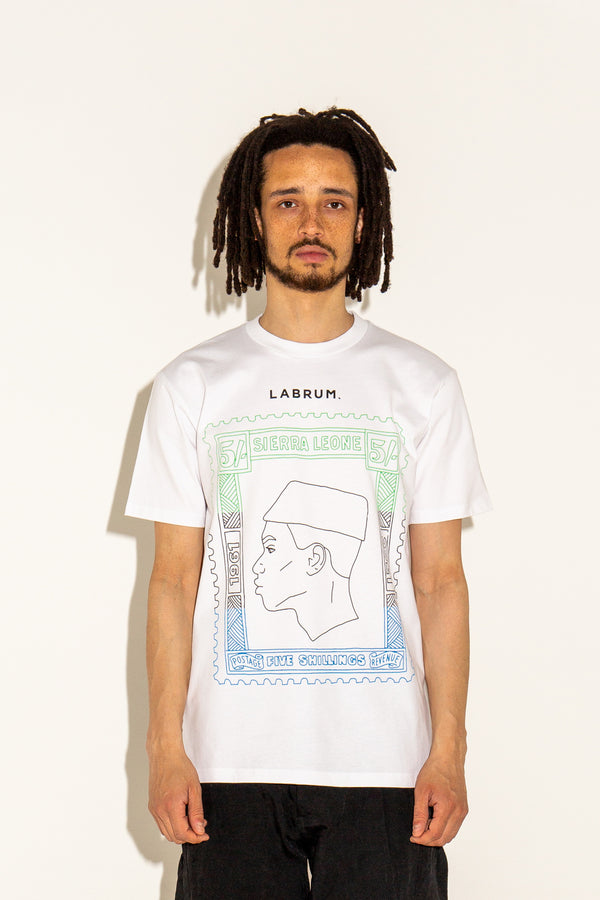 SIERRA LEONE INDEPENDENCE POSTAL STAMP T-SHIRT WHITE