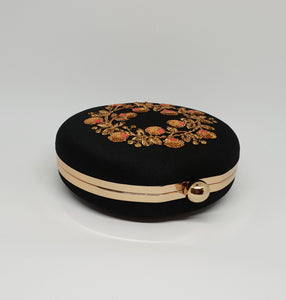 Black Embroidered Box Clutch