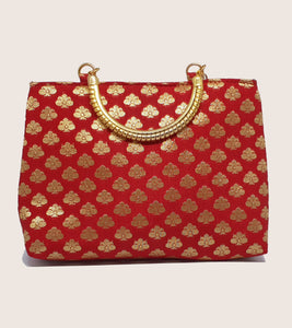 Red Gold Handle Bag
