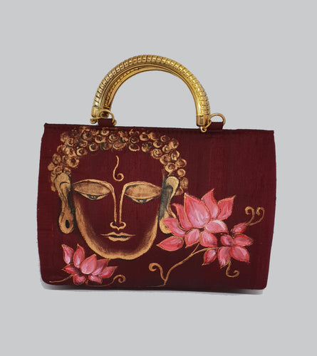 Buddha Painted Gold Handle Bag