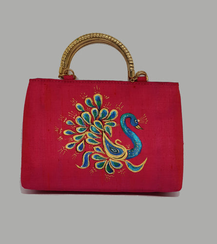 Pink Painted Gold Handle Bag