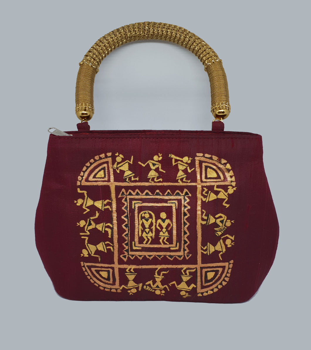 Warli Art Painted Maroon Bag