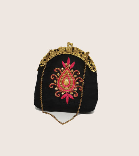 Black with Pink Embroidered Vintage