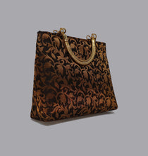 Load image into Gallery viewer, Black Floral Gold Handle Bag