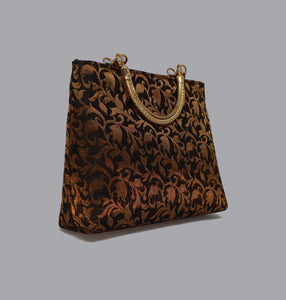 Black Floral Gold Handle Bag